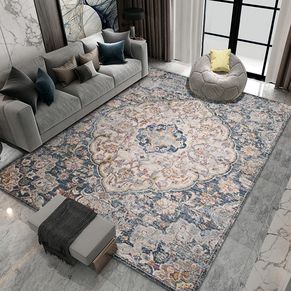 New Blue Grey Abstract Small Extra Large Floor Carpet Area Rugs Mats Bedroom ℑ