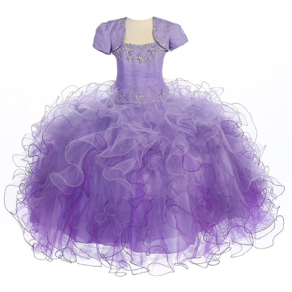 Girls Lilac Purple Two Tone Illusion Pageant Dress 14-16