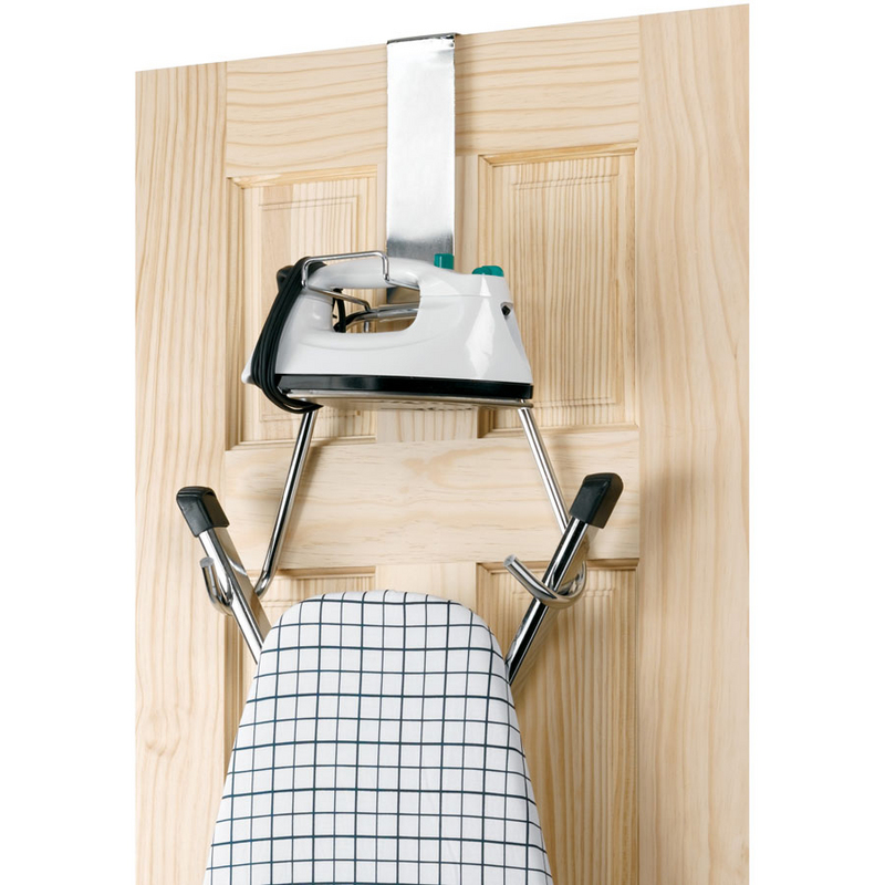 OVER-THE-DOOR MOUNT FOR IRONING BOARD AND IRON - White