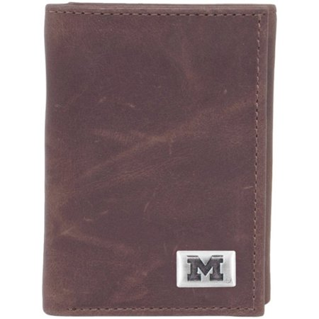 - Michigan Wolverines Leather Tri-Fold Wallet with Concho - Brown - No Size