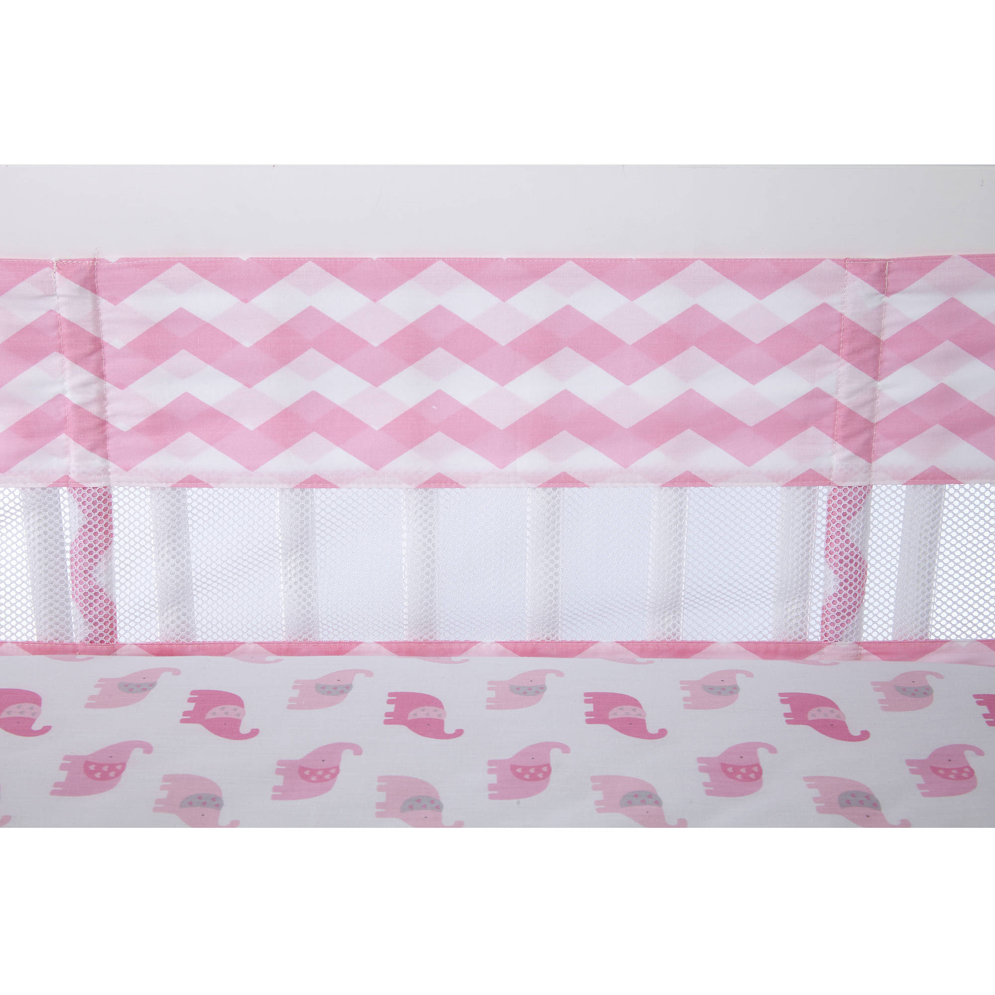 Little Love Secure Me Crib Liner, Pink Chevron Print