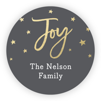 "Personalized Holiday circular 1.75"" Circular Seal Stickers - Joy"