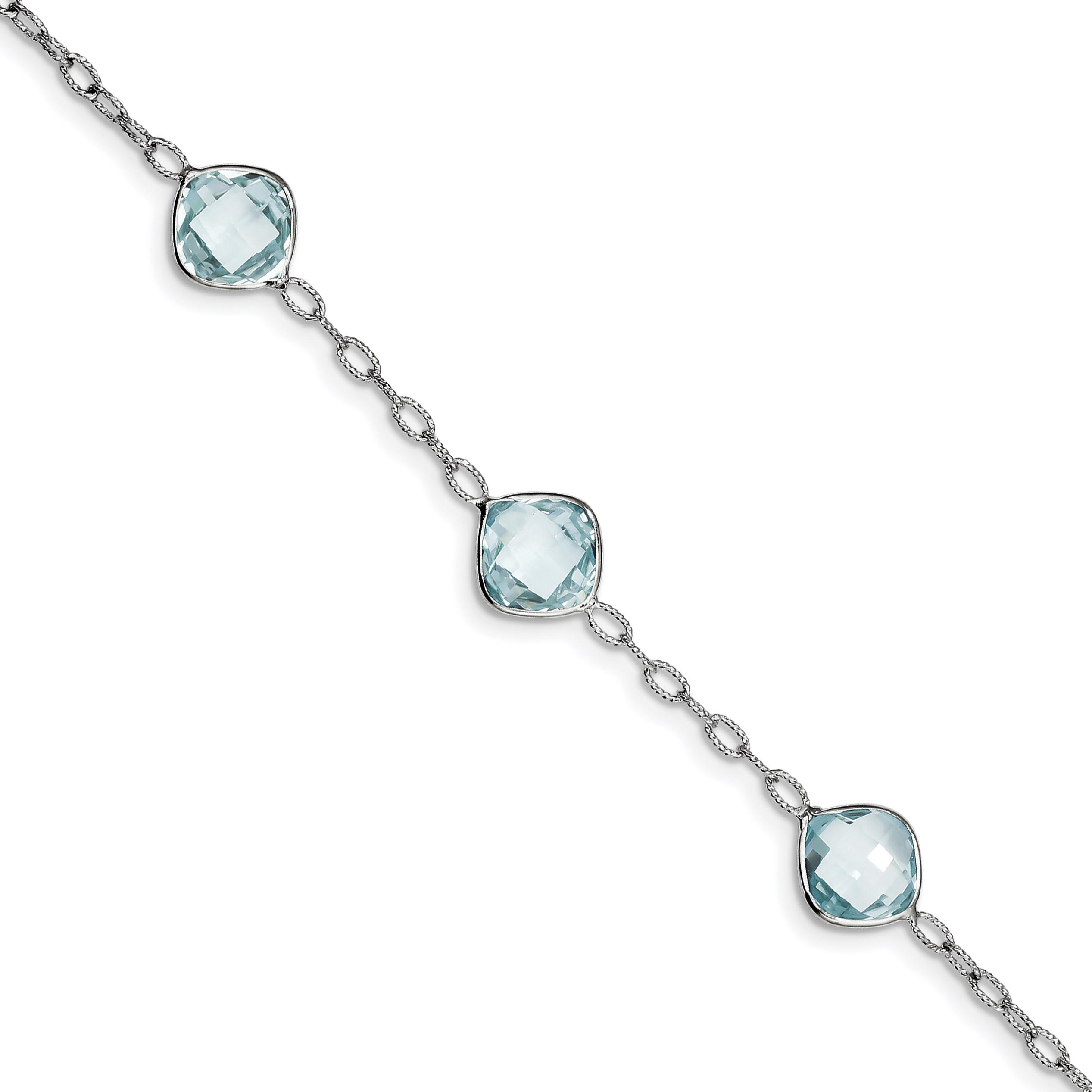 925 Sterling Silver Rhodium-plated Blue Topaz Bracelet by