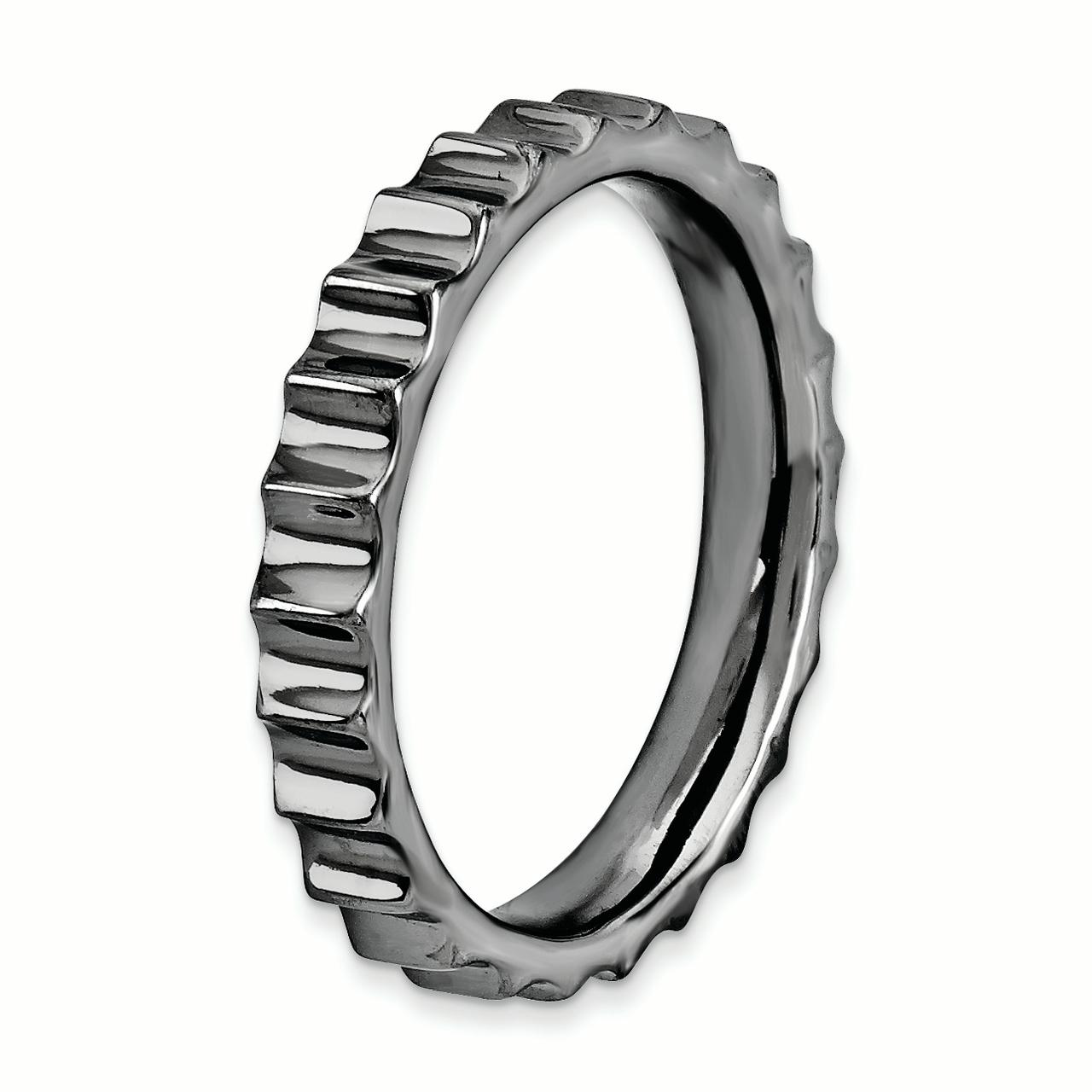 925 Sterling Silver Black Plated Band Ring Size 7.00 Stackable Textured Fine Jewelry Gifts For Women For Her - image 2 de 4