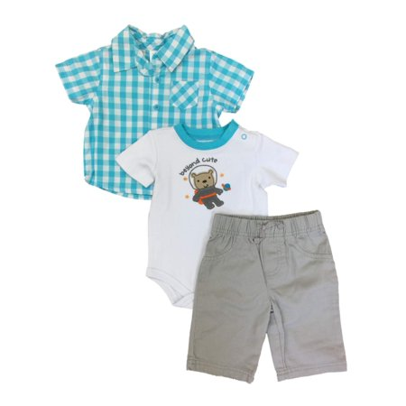 Infant Boys Baby Outfit Blue Check Shirt Teddy Bear Astronaut Bodysuit & Pants