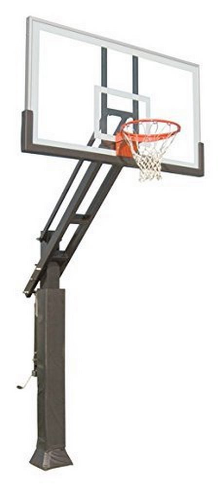 "Triple Threat In-ground Adjustable Basketball Goal Hoop with 42"" X 72"" Glass Backboard System for... by"