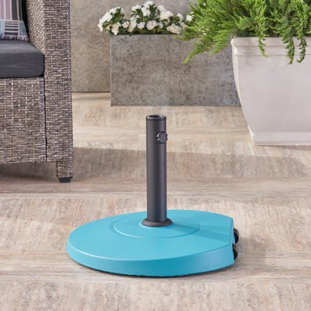 Outdoor 59.5lb Concrete Circular Umbrella Base with Aluminum Collar, (Team Umbrella)