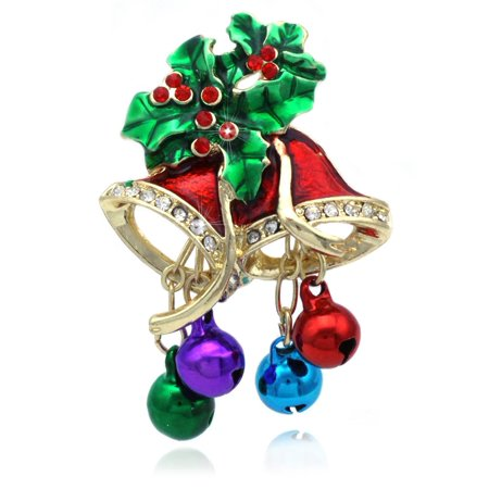 cocojewelry Christmas Bells Colorful Jingle Bells Poinsettia Pin Brooch Holiday Jewelry