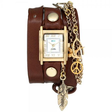La Mer Collections Women's LMCW1006 Peace Pipe Charm Chain Wrap Watch