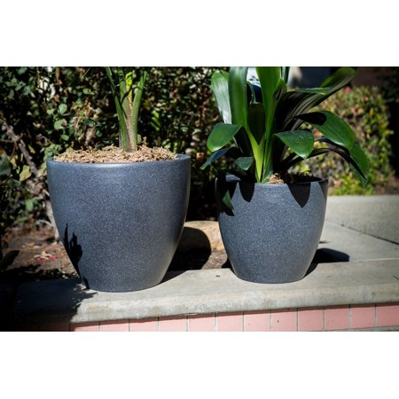 Nested Planter (Xbrand Modern Nested Black Round Flower Pot Planter, Set of 2 Different Sizes, 14 Inch & 12 Inch Tall)