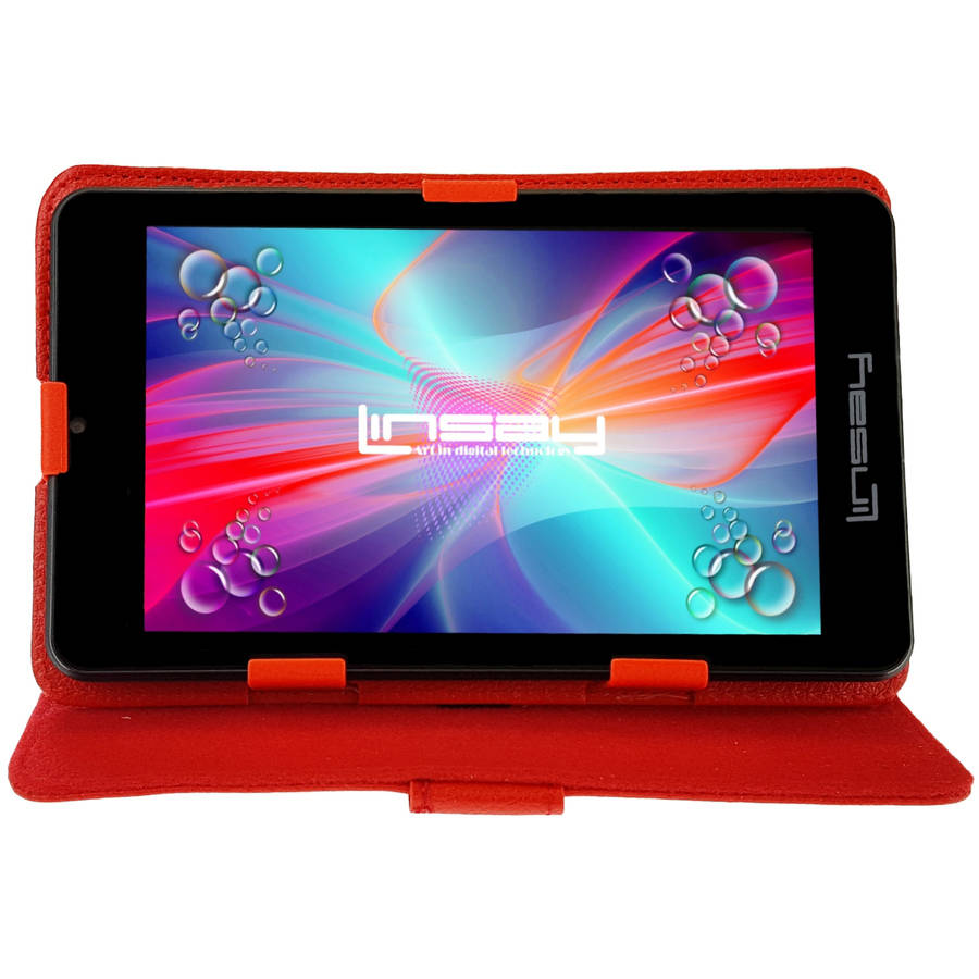 "LINSAY 7"" 1280x800 IPS Touchscreen Tablet PC Featuring Android 4.4 (KitKat) Operating System Bundle with Red Leather Case"