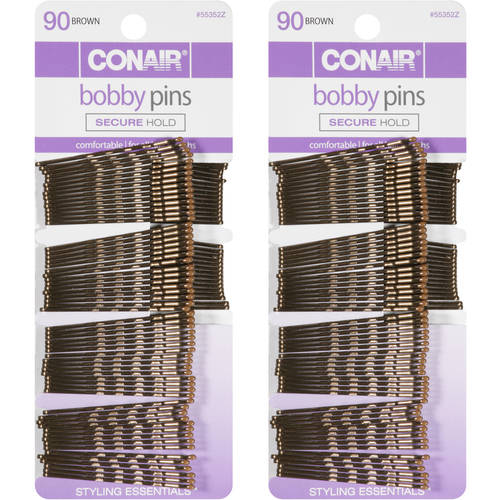 Conair Styling Essentials Bobby Pins, Brown, 90 count (pack of 2)