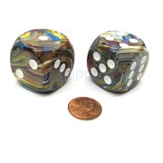 Chessex Festive 30mm Large D6 Dice, 2 Pieces - Carousel with White Pips #DF3060