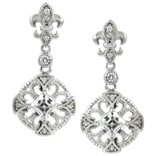 Silvertone Cubic Zirconia Fleur de Lis Dangle Earrings