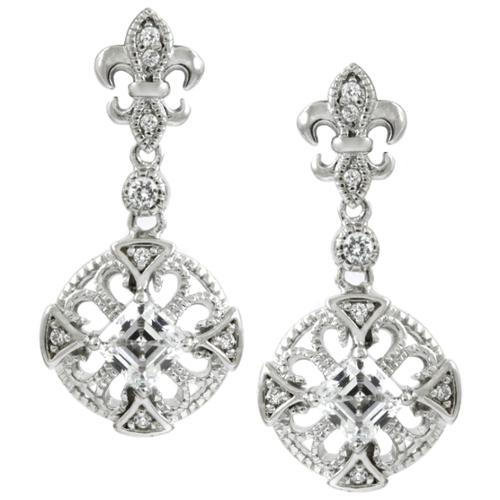 Emitations Silvertone Cubic Zirconia Fleur de Lis Dangle Earrings