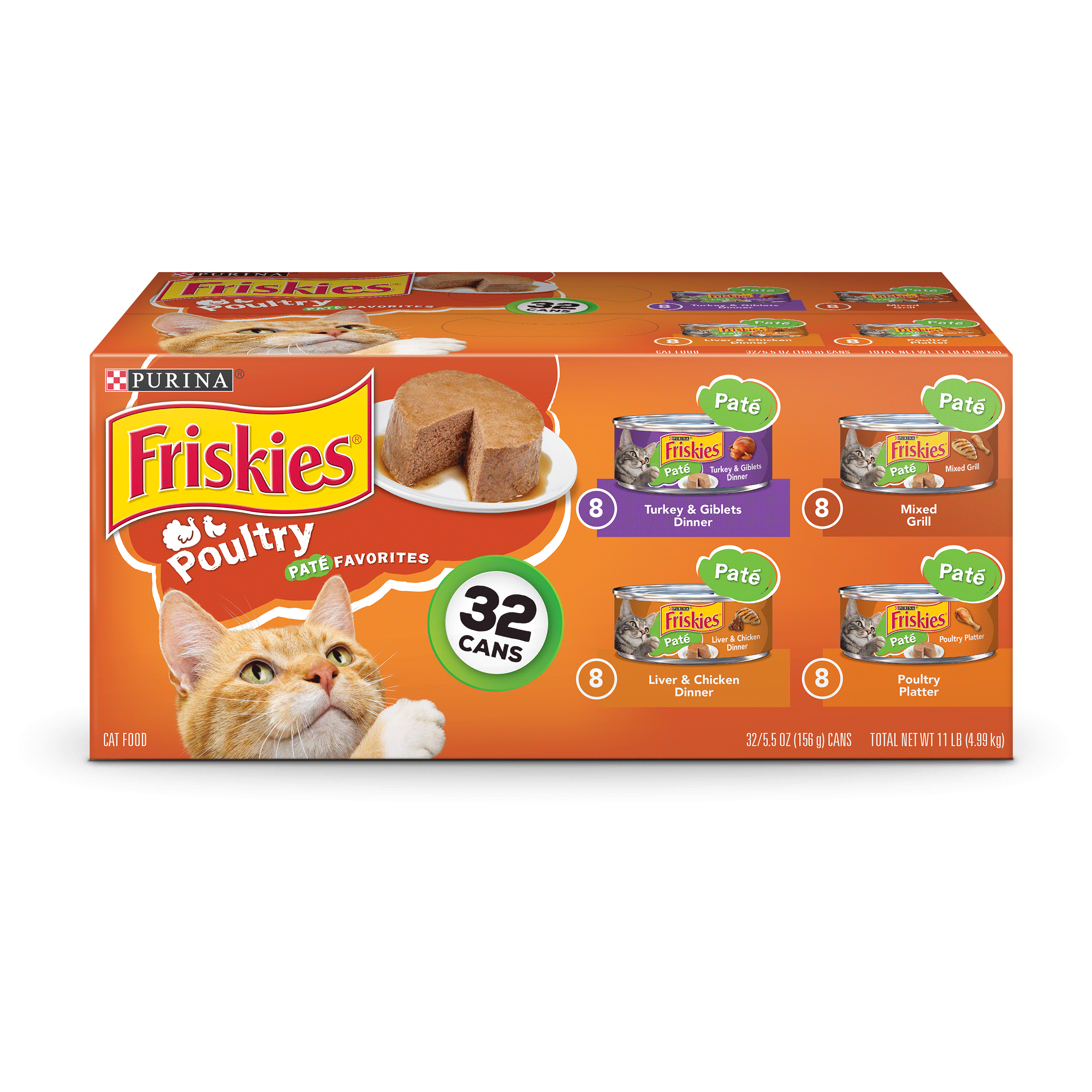 Purina Friskies Pate Poultry Favorites Adult Wet Cat Food Variety Pack - (32) 5.5 oz. Cans