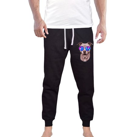 Men's Galaxy Glasses Pitbull KT B1299 Black Fleece Gym Jogger Sweatpants Small Black