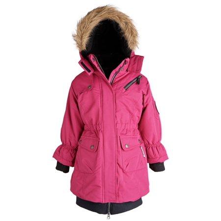 Big Chill Little Girl Warm Winter Water Resistant Fleece Lined Parka Puffer Coat Heavyweight Lined Parka