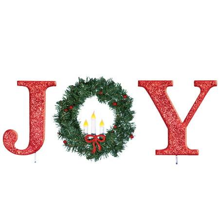 outdoor lighted wreath children's outdoor lighted garden stake with wreath joy walmartcom