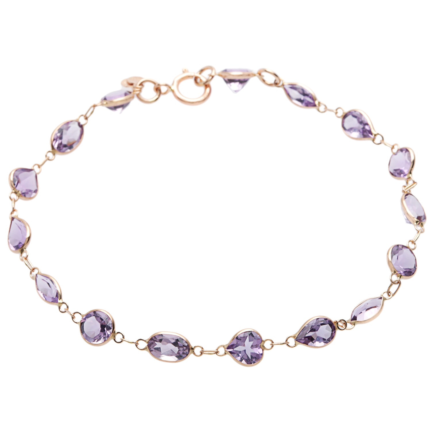 asher jewelry co inc 14k Yellow Gold Purple Amethyst Bracelet by Overstock