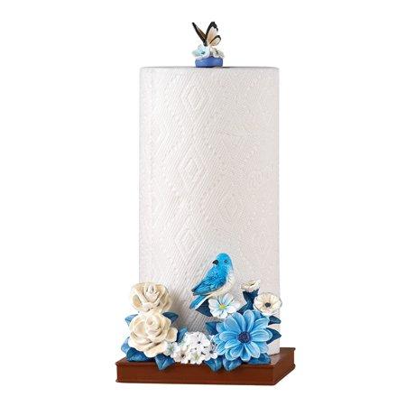 kitchen paper towel holder for countertop in blue bird flower garden theme. Black Bedroom Furniture Sets. Home Design Ideas