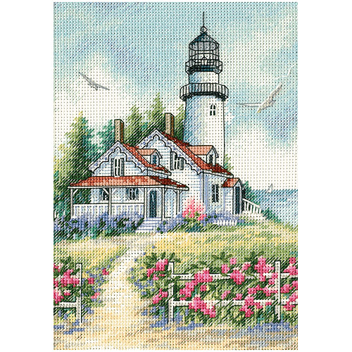 """Dimensions Gold Collection Petite """"Scenic Lighthouse"""" Counted Cross Stitch, 5"""" x 7"""""""