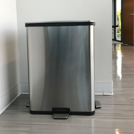 itouchless 13 gallon step sensor stainless steel trash can automatic kitchen trash can with unique - Stainless Steel Kitchen Trash Can