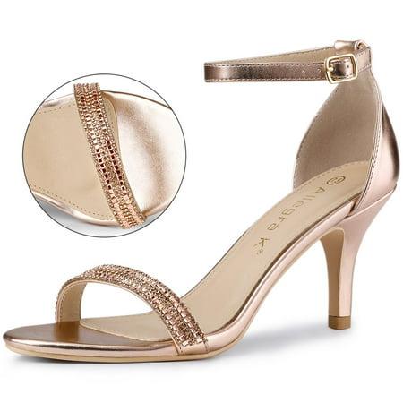Women's Stiletto Heels Rhinestone Ankle Strap Sandals Rose Gold US 7.5 - image 7 de 7