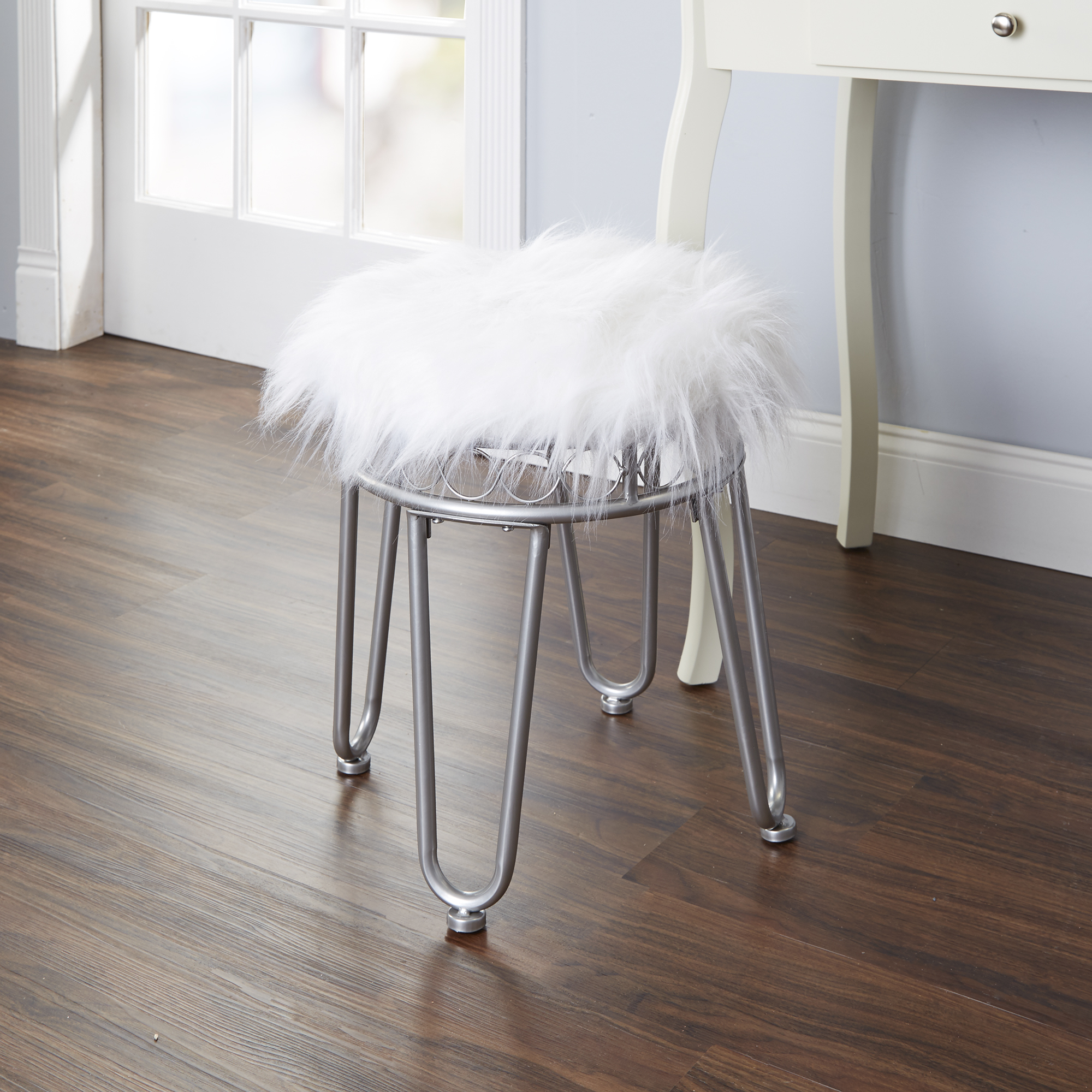 Silverwood Hannah Faux Fur Vanity Stool With Hairpin Legs