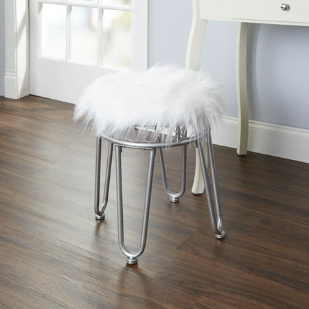 Silverwood Hannah Faux Fur Vanity Stool With Hairpin Legs