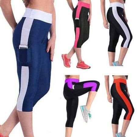 Crop Yoga Pants - Women's Yoga Running Pants High Waist Cropped Leggings Fitness Outdoor Sports Pants