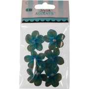 Offray Stylish Accents Turquoise Sheer Flower Pearl, 6 Piece