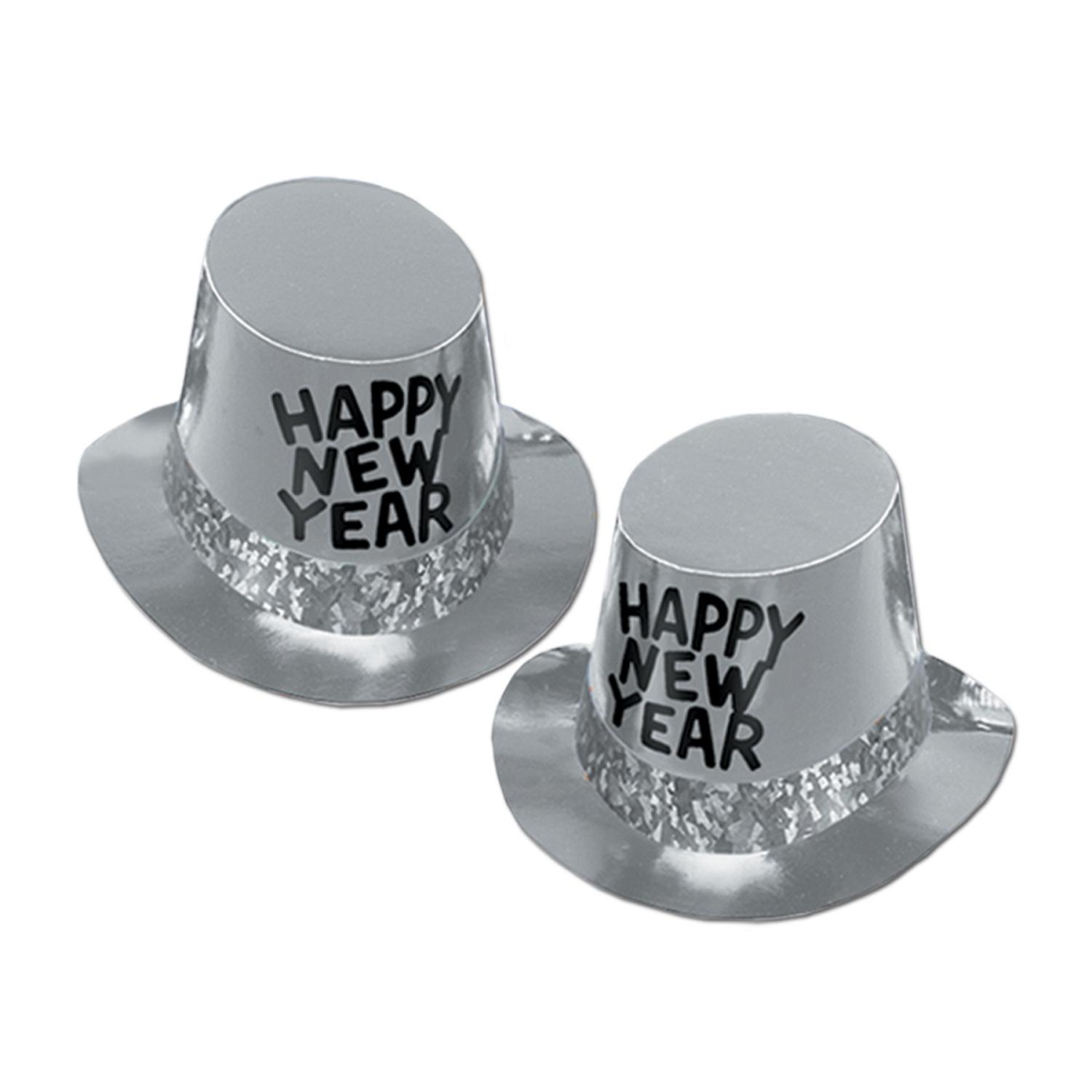 """Club Pack of 25 Platinum """"Happy New Years"""" Legacy Party Favor Hats"""