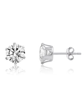 386dd5c6c Product Image Round 5.25 mm 6 Prong Snap-in earring White CZ - Sterling/ Ecoat