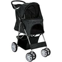 Paws & Pals Pet Stroller Cat/Dog Easy Walk Folding Travel 4-wheel Carriage, 2019 Design