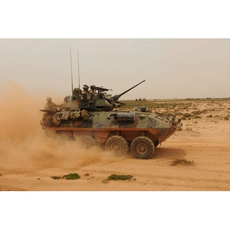 A Marine Corps Light Armored Vehicle kicks up a cloud of dust Poster Print by Stocktrek (Marine Light Armored Vehicle)