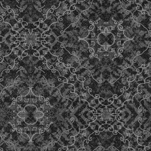 Cranston VIP Fabrics Denim Express Scroll Fabric, Black/Grey