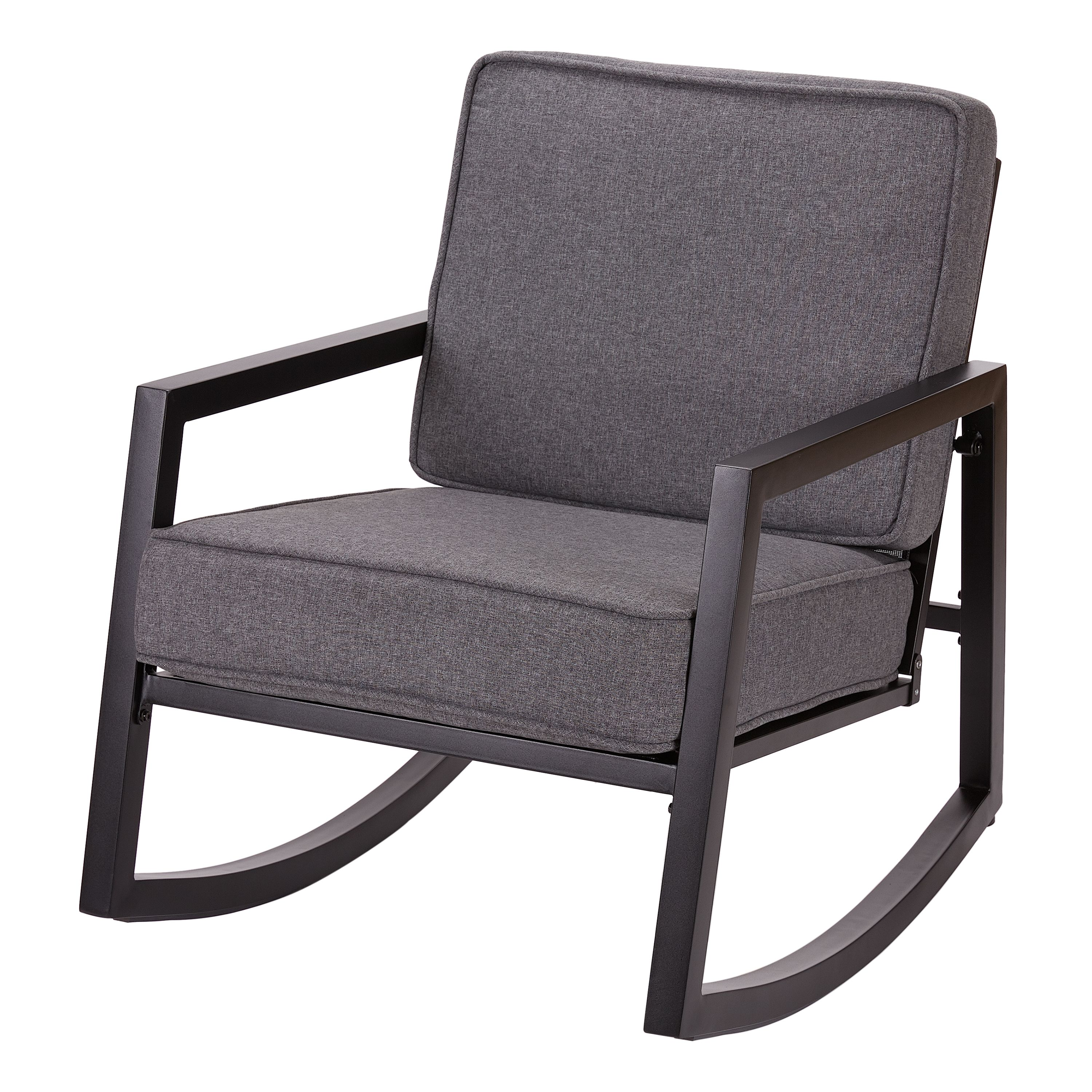 Mainstays Moss Falls Patio Rocking Chair with Gray Cushions