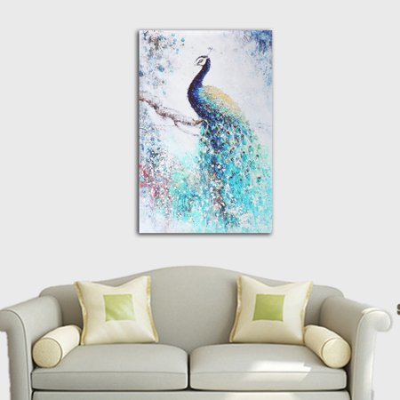 Modern Unframed Canvas Print Peacock Painting Wall Hanging Art Picture Home Living Room Decor 60x40cm ()