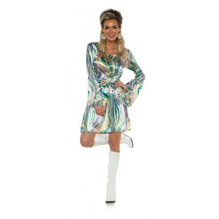 Halloween Costumes For Adults 70s (Disco Chick Womens Adult 70s Green Gold Halloween)