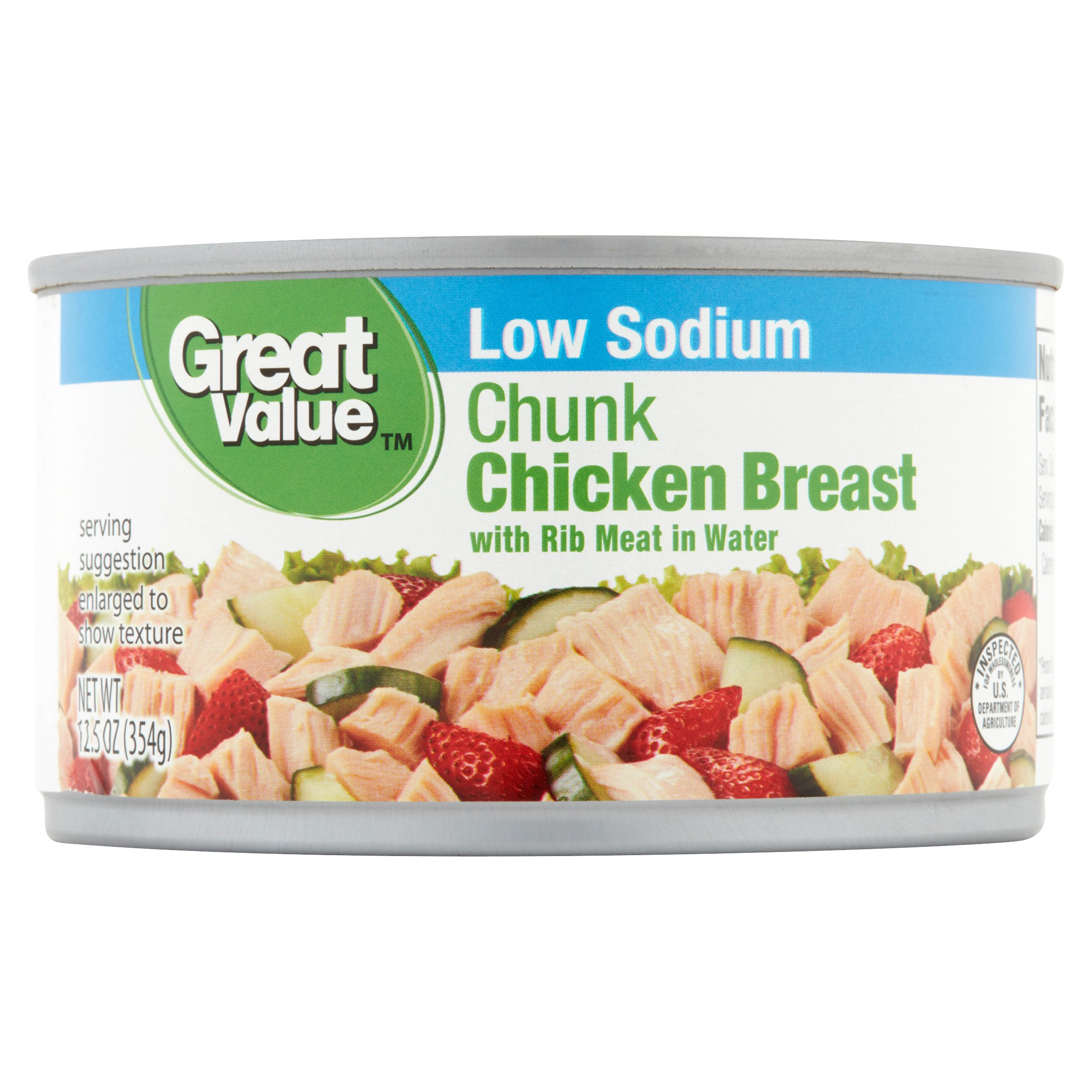 (3 Pack) Great Value Low Sodium Chunk Chicken Breast, 12.5 oz