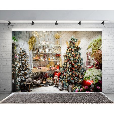 greendecor polyster 7x5ft christmas store photography background chic xmas tree backdrop interior decoration new year ornament