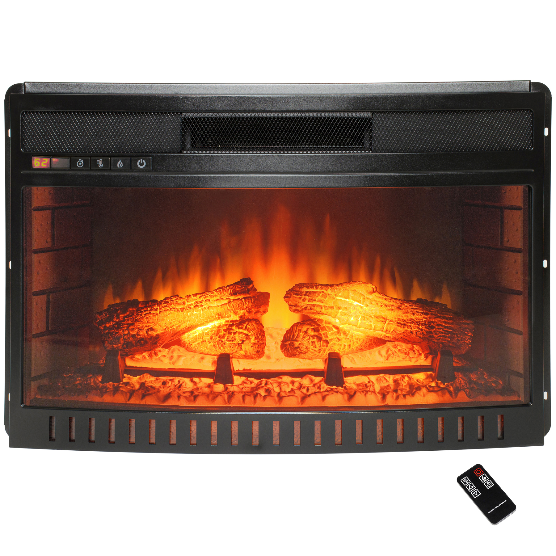 "AKDY FP0056 27"" Freestanding Push Button Control Adjustable Electric Fireplace Heater Stove Insert w/ Remote Control"