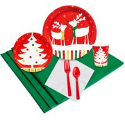 Merry Christmas Reindeer Party Supplies - Plate Napkin Cup Party Pack for 24
