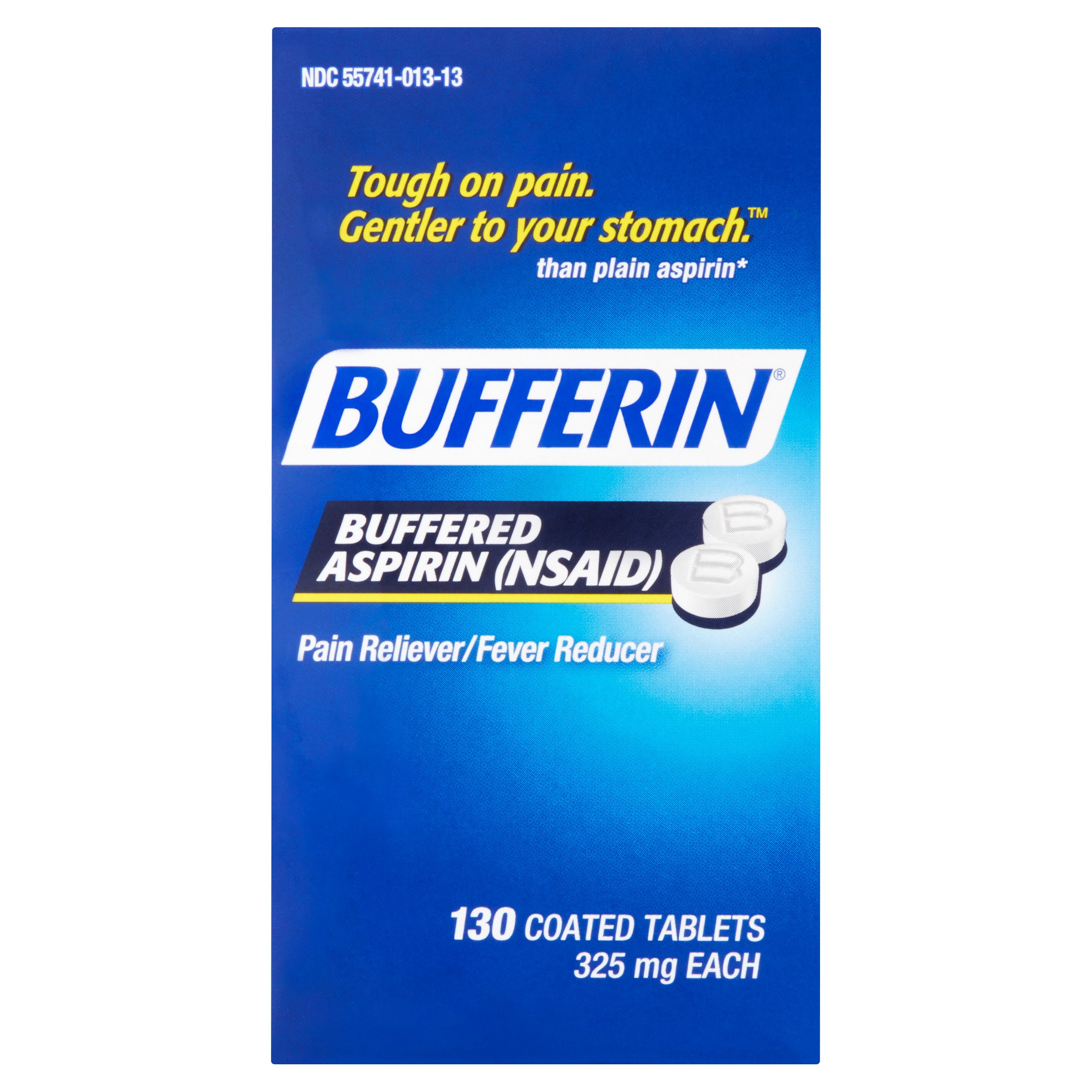 Bufferin Buffered Aspirin Pain Reliever/Fever Reducer Coated Tablets, 325mg, 130 count