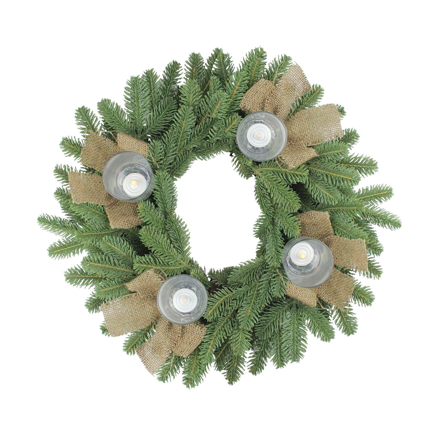 "21"" Artificial Pine and Burlap Candle Ring with Glass Votive Candle Holders"