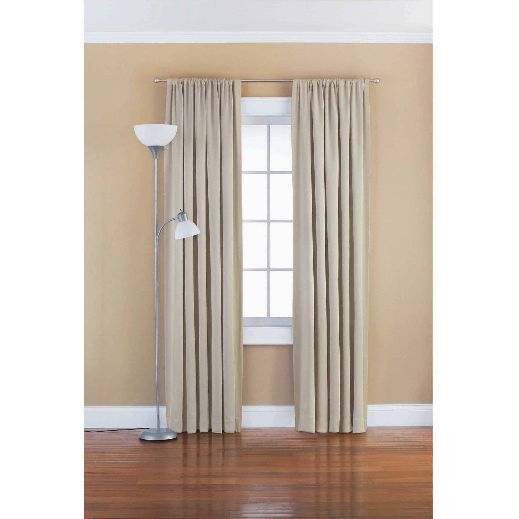 Mainstays Solid Room Darkening Polyester Curtain Panel