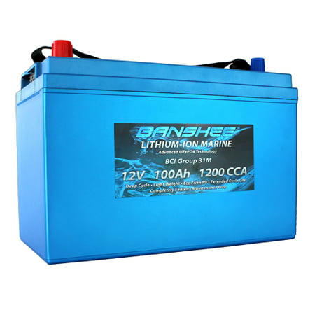Dual Purpose Deep Cycle Lithium Marine Trolling Battery Group 31 Replaces Optima D31M 1200CCA