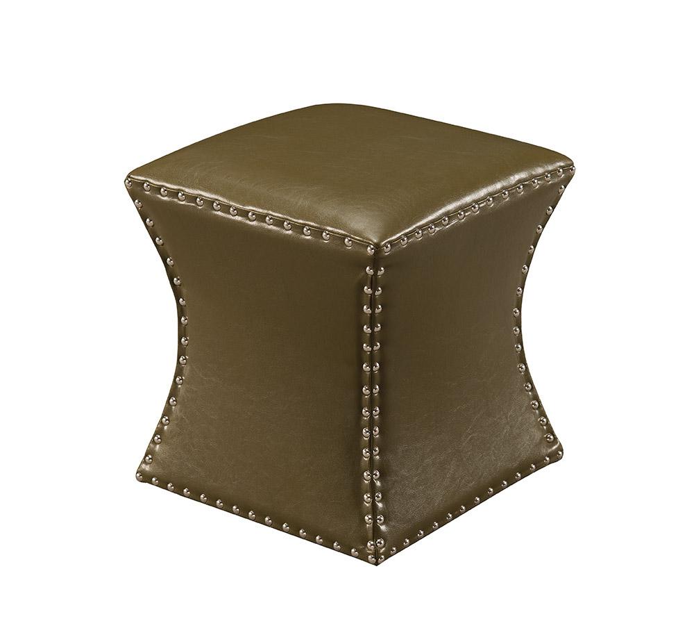 """Rylen Blue Upholstered Faux Leather Transitional 15-Inch Square Nailhead Trim Ottoman Stool Bench (17""""H)"""