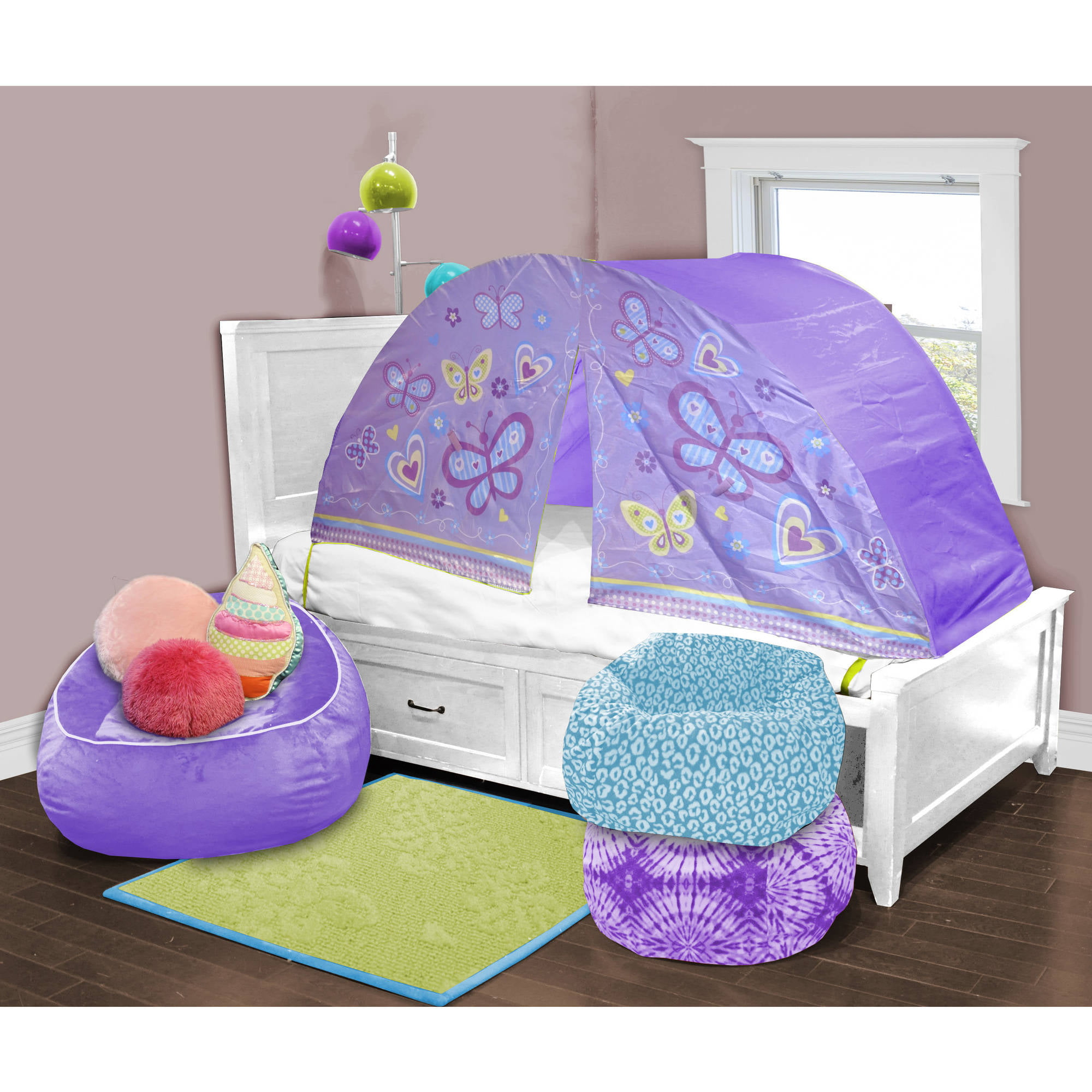 Kids Scene Lavender Butterfly Play Bed Tent  sc 1 st  Walmart : spiderman bed canopy - memphite.com